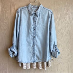 Anthro Holding Horses Button Down With Lace Detail